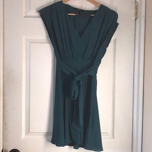 Teal emerald dress a line retro